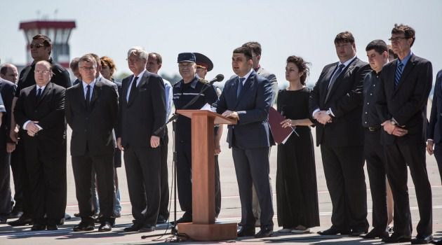 Volodymyr Groysman, then Deputy Prime Minister of Ukraine, speaks at a departure ceremony for the victims of the crash of Malaysia Airlines flight MH17.