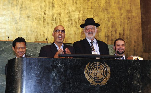 Declaring World Peace! European imams and rabbis take turns at the podium during a visit to the United Nations General Assembly on July 20. Two dozen clerics traveled to New York and Washington to take part in an interfaith dialogue.