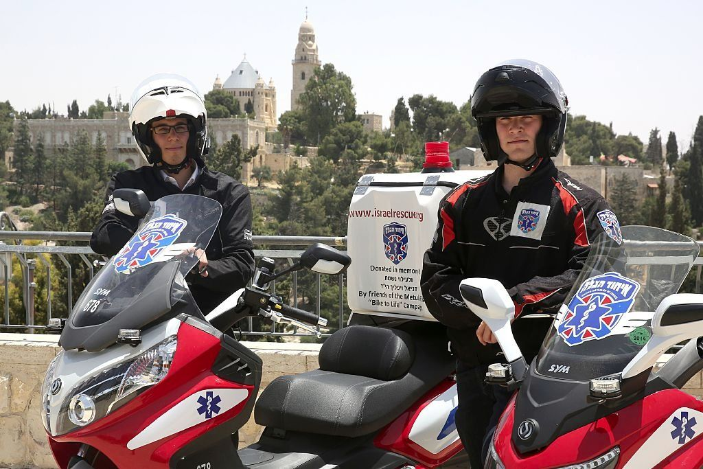 Volunteers from the United Hatzalah medical service in Jerusalem.