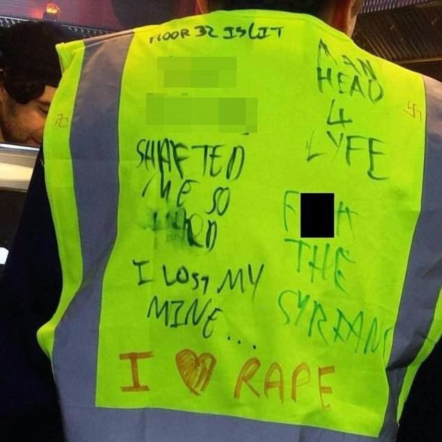 A picture of the reflective vests worn by a few University of Exeter students.