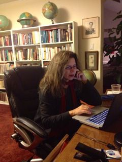 Mimi Rosenbush at work in her office