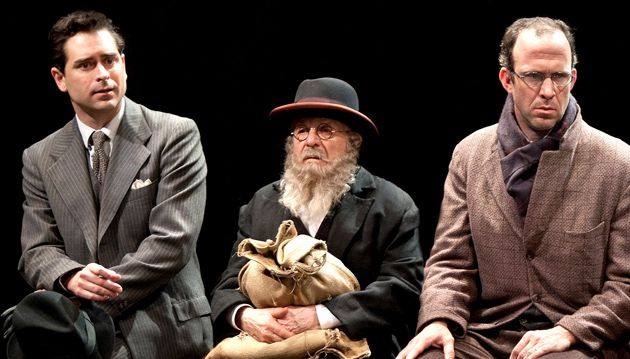 Waiting, but Not for Godot: Todd Gearhart, John Friemann, Christopher Burns playing Jews on a bench.