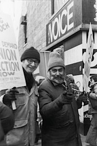 The People United: Cartoonist Jules Feiffer (left) and columnist Nat Hentoff demonstrate during a 1977 strike against the Voice.