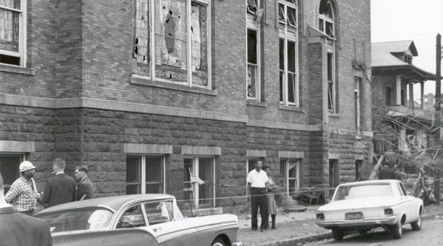 Investigators probe bombing at 16th Street Baptist Church in Birmingham, Alabama.