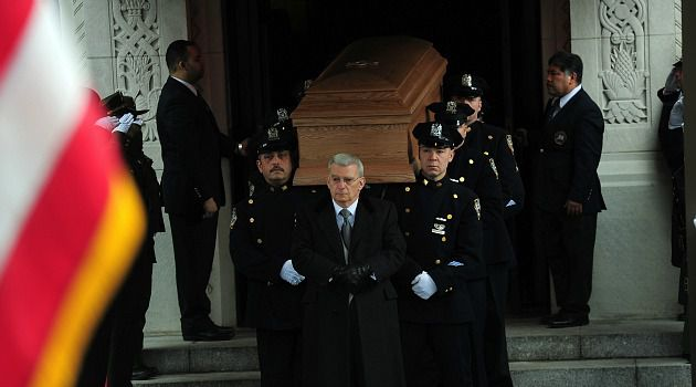 You Did Fine: Ed Koch?s casket is carried out of Manhattan?s Temple Emanu-El after the former mayor?s funeral.