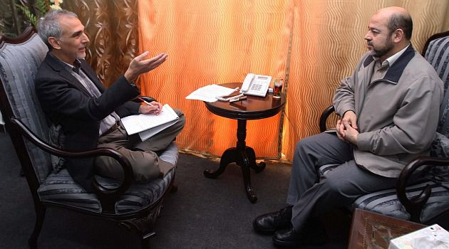 Prize-Winner: Larry Cohler-Esses interviews Mousa Abu-Marzook in Cairo in April 2012.
