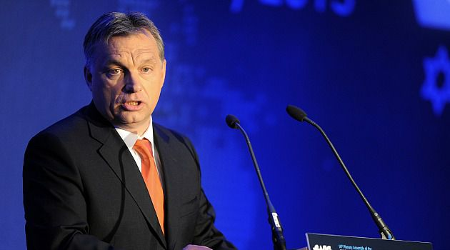 Not Firm Enough: Hungary Prime Minister Viktor Orban addresses World Jewish Congress meeting in Budapest.