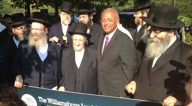 Bill?s 2 Josephs: When Bill Thompson campaigned in Brooklyn, Joseph Goldberger, far left, appeared with him. Joseph Menczer, second from left, also showed up at his rally.