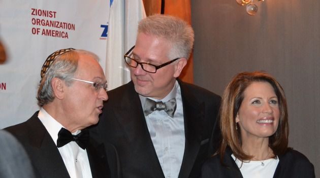 Back in Business: ZOA National President Morton Klein chats with Glenn Beck and Michele Bachmann at the group?s gala in 2011.