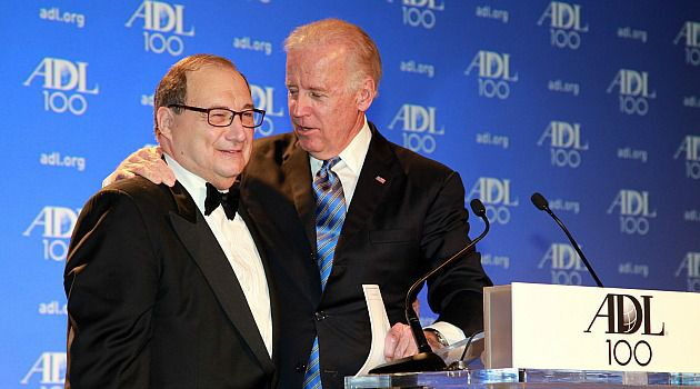New Century: Vice President Joe Biden embraces ADL national director Abraham Foxman at the group?s centenary event.
