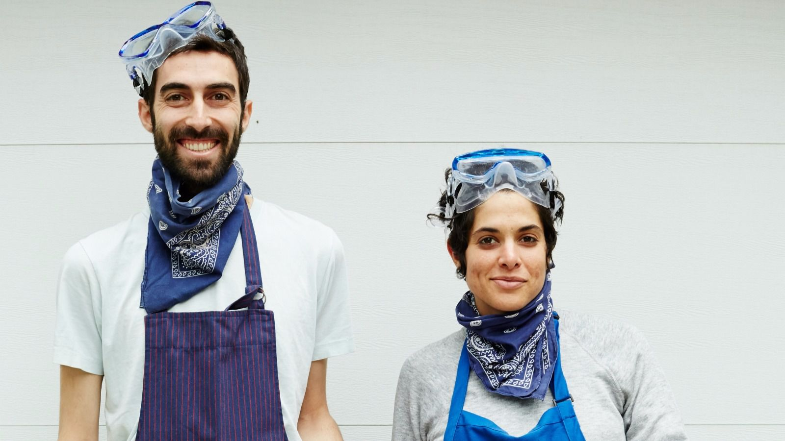 The author photo shows Jeffrey Yoskowitz and Liz Alpern looking particularly bad-ass, wearing the protective gear they use when making large batches of horseradish.