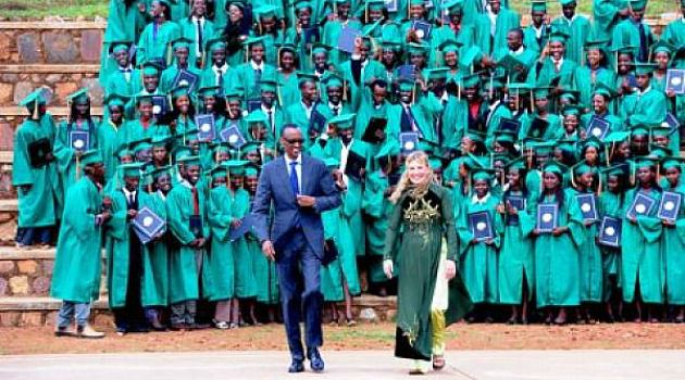 Happy Day: Anne Heyman walks with Rwanda President Paul Kagame at a graduation ceremony at Agahozo-Shalom Youth Village, the kibbutz-style school she founded.