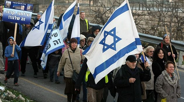 Extreme No More : Jewish settlers march in the West Bank city of Hebron. Once an extremist option, annexation of the occupied territory is now gaining support on Israel?s right wing.