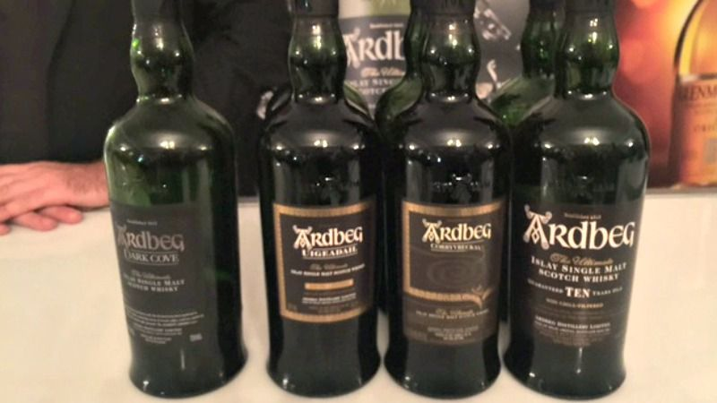 Ardbeg brought a selection of whiskies and the delicious spicy Correyvreckan (second from right)was the best of them all.