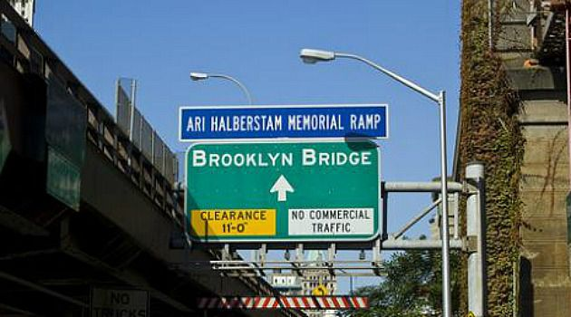 Notorious Murder: Yeshiva student Ari Halberstam was killed as he drove on this Brooklyn Bridge ramp in 1994.