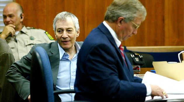 Millionaire Robert Durst in court with his attorney in 2003.