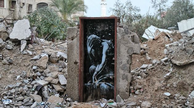 Banksy's art in Gaza following the 2014 war between Hamas and Israel.