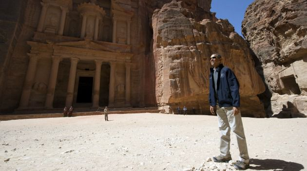 Pass the Binoculars: President Obama wrapped his Mideast trip by playing tourist for the day, visiting the incredible ancient city of Petra in Jordan.
