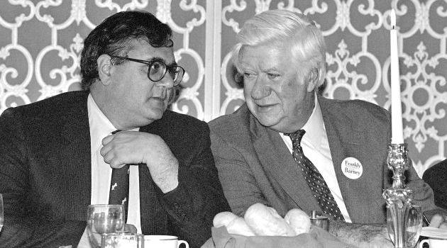 Barney Frank (left) talks with House Speaker Tip O'Neill at a fundraiser in 1982.