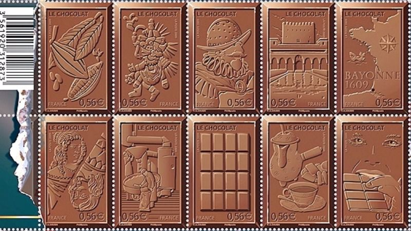 Chocolate scented block of stamps from the French postal services (La Poste, 2009) identifies Bayonne as a French chocolate center. In turn, Bayonne identifies Jews for bringing chocolate making to France.