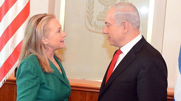 Peace Push: Hillary Clinton meets with Israeli Prime Minister Benjamin Netanyahu in hopes of forging as Gaza ceasefire deal.
