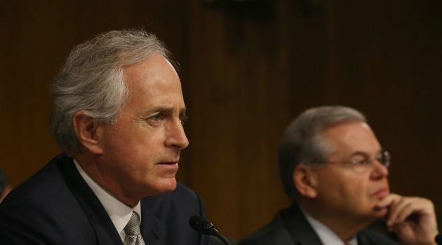 Sen. Bob Corker (R-Tenn.) is trying to round up Democratic votes for a bill that would give the GOP Congress veto power over President Obama's Iran nuclear deal.