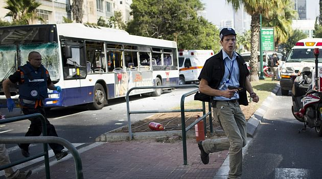 Hunt for Bomber: Israeli authorities race to secure area after terrorist detonates a bomb on a downtown Tel Aviv bus.