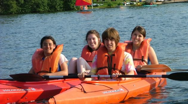 Inclusive: Children with disabilities and their peers kayaking at Camp Ramah Wisconsin.