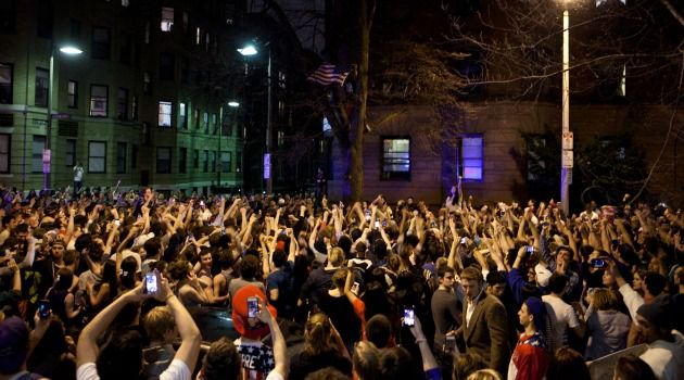 End of Lockdown: Jubilant crowds gathered in Boston after authorities arrested the second suspect in the Marathon terror bombing.