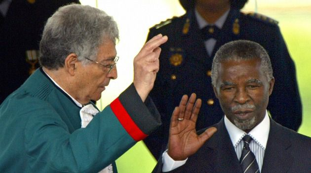 Pioneering Jurist: Judge Arthur Chas kalson swears in Thabo Mbeki as South Africa?s president. The Jewish jurist died at 81.