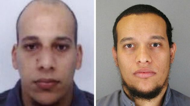 French police were hunting for terror attack suspects Said Kouachi, 34, and Cherif Kouachi, 32.