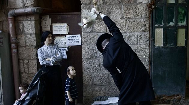 Swing Low: An ultra-Orthodox man in Jerusalem performs the pre-Yom Kippur rite of swinging a chicken.