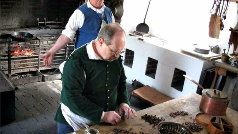 Recreation of chocolate making at Colonial Williamsburg.