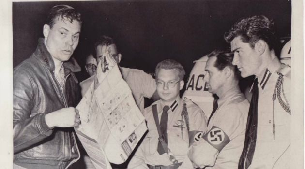 Secret Past: KKK leader Dan Burros, center, killed himself after his Jewish heritage was revealed in a groundbreaking New York Times story.