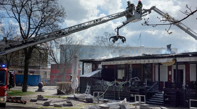 Gutted: The Museum of Danish Resistance in Copenhagen was saved from a fire that destroyed large parts of its building.
