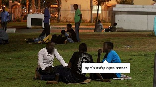 An Israeli user posted this photo to Facebook, along with racist commentary comparing the African immigrants shown in it to animals. She was bombarded by more abusive and racist posts.