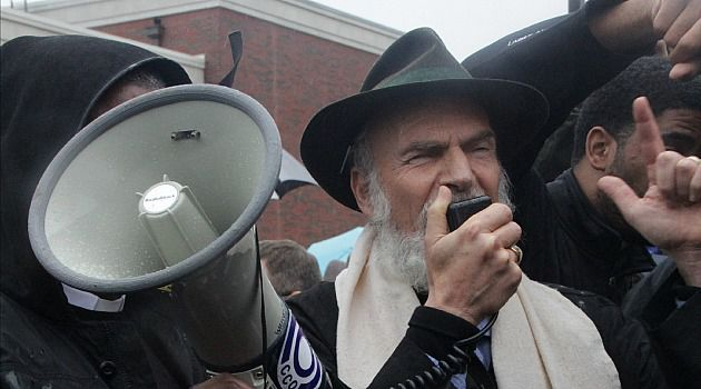 Stop the Hate: Rabbi Mordechai Leibling addresses protesters in Ferguson, Missouri, where anti-racism protests are still roiling the St. Louis suburb.