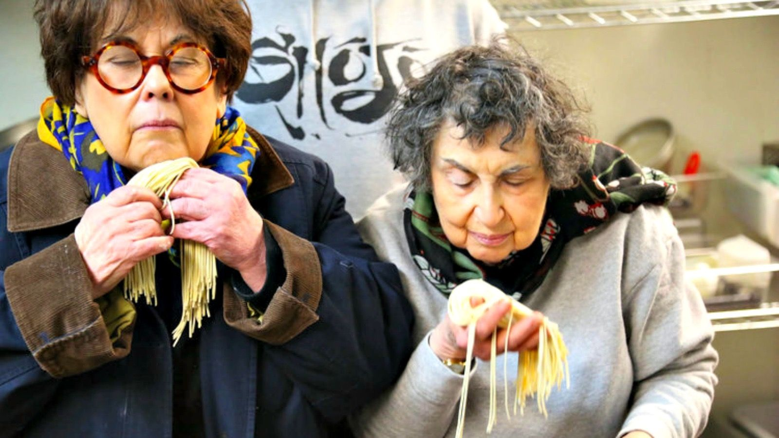 Noodle Meditation: The Brass sisters, Marilynn (left) and Sheila, star in a new cooking series in which they flirt their way into professional kitchens before trying what they learned at home.