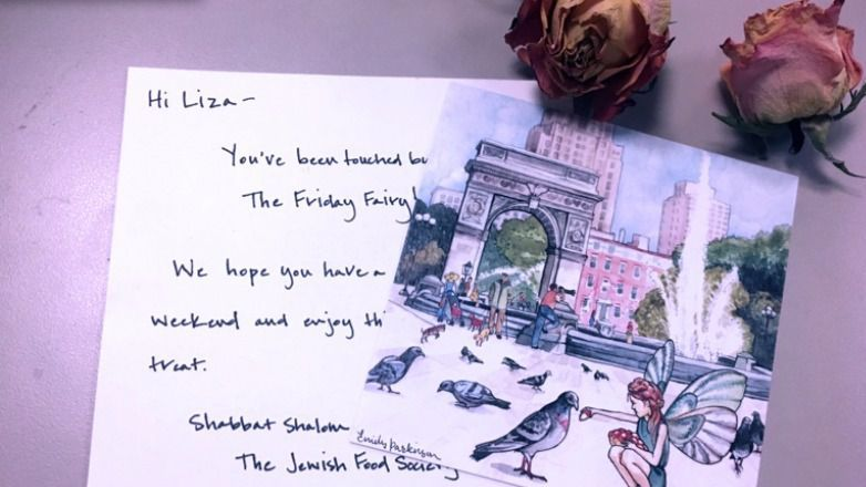 A whimsical and mysterious package contained a note, a piece of art and a freshly made challah.