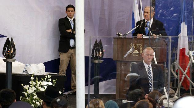 Benjamin Netanyahu addresses mourners at funeral for 4 victims of Paris terror attacks.
