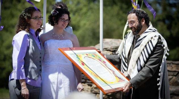 By the Power Vested in Me: Rabbi Menachem Creditor marries Margee Churchon and Kate Smallenburg in Berkeley, Calif. Conservative rabbis are grappling with how to adapt a traditional Jewish wedding for same-sex couples.