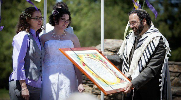By the Power Vested in Me: Rabbi Menachem Creditor marries Margee Churchon and Kate Smallenburg in Berkeley, Calif. British rabbis are seeking ways to help LGBT Jews marry in the faith.