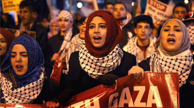 Deja Vu: Protesters demonstrate against Israeli attacks on Gaza on November 19, 2012 in Chicago, Illinois.