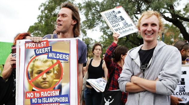 Down With Geert: Dutch protesters demonstrate against right-wing leader Geert Wilders.