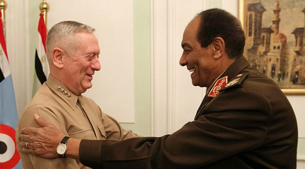 Gen. James Mattis greets Egyptian military leader Hussein Tantawi in 2011. After Mattis suggested that America?s friendship with Israel is a problem in the Middle East, some are questioning if top brass