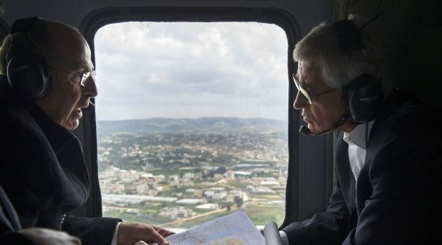 Sweeping View: Defense Secretary Chuck Hagel gets helicopter tour of Israeli-occupied Golan Heights as he discusses security cooperation with the Jewish State.