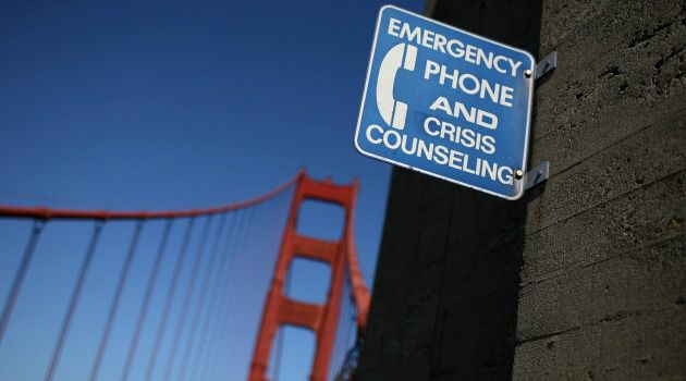 Lifeline: A sign for an emergency phone is seen on the span of the Golden Gate Bridge in San Francisco, California.