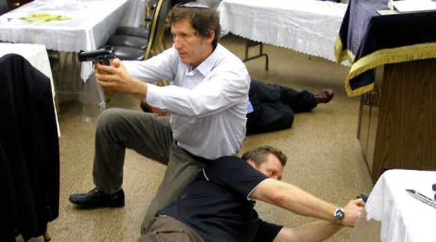 Shooting Range: Former New York police officers Gary Moskowitz (left) and David Goldberg practice anti-terror techniques in Queens.