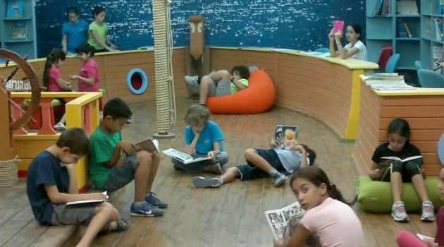 Shelter: The Hagar school?s library doubles as a ship-themed bomb shelter.