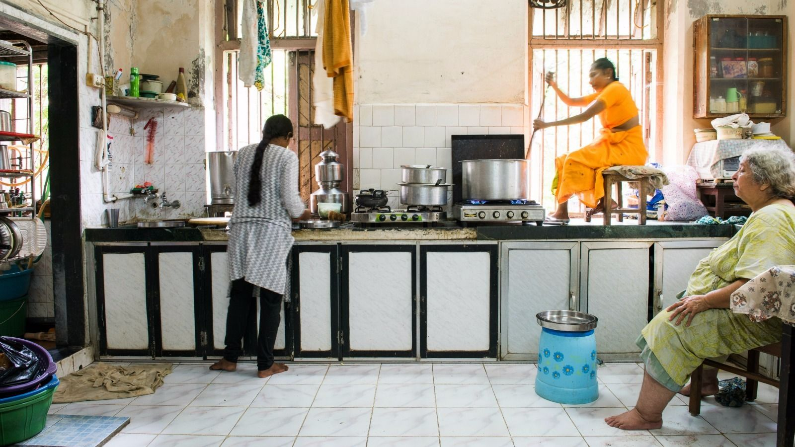 In the Mumbai kitchen of caterer Sharona Hayeems (right), helpers Sona (left) and Suneka assist in the halwa making.